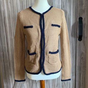 Maje Cardigan Sweater 3 Taupe Navy Trim NWT